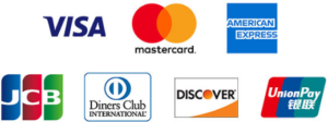VISA・mastercard・AMERICANEXPRESS・JCB・DinersClub・DISCOVER・銀聯カード(UnionPay)